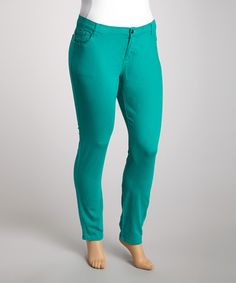 db1371f08f9e3 Look what I found on #zulily! Emerald Twill Skinny Pants - Plus by 1826