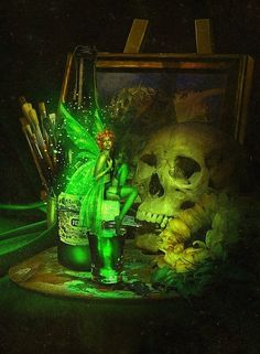 Green Absinthe Fairy. Beautiful Digital Illustrations by Lilia Osipova