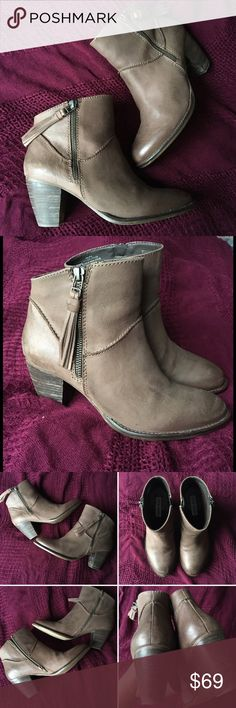 ❌SOLD❌ Light Brown Booties Steve Madden Taupe Steve Madden Winola Leather Booties   - Naturally distressed leather in light brown/taupe color - depending on the light  - Great neutral, goes with everything  - Stacked heel (height - about 2.5 inches) - Decorative zipper with tassel on outside, working zipper on inside of boot  - Like new - Worn briefly 1 time (I can't wear any heels anymore due to illness/back pain) Steve Madden Shoes Ankle Boots & Booties