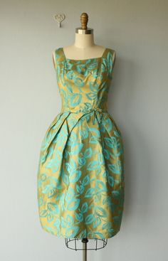 1950's green and gold dress