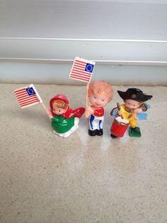 Altfiguren Mädchen mit Fahne,Junge mit Fahne und Trommler 70er Jahre  TOP