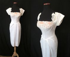 Lovely 1950's Summer White Linen Party Cocktail by wearitagain