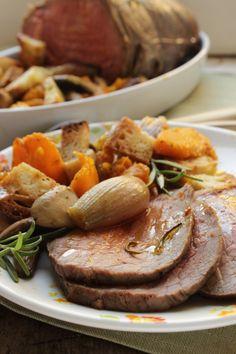 roast beef con panzanella di verdure autunnali