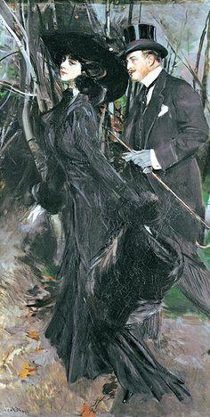 Le Prince Lointain: Giovanni Boldini La passeggiata al Bois de Boulogne - 1909 Giovanni Boldini, Italian Painters, Italian Artist, Belle Epoque, Classical Art, Old Master, Beautiful Artwork, Art History, Art Gallery
