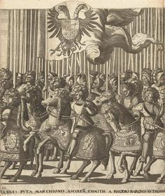 Artist: Hogenberg, Nicolaas, Title: Emperor Charles V in procession after his coronation by Pope Clement VII at Bologna, Plate 32: Knights with the Habsburg flag and Italian nobles, Date: 1535-1540