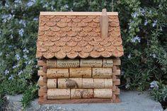 Log Cabin birdhouse wine cork art von CarefullyCorked auf Etsy