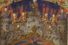Pontifical à l'usage de Périgueux, XVé siécle. Détail de la miniature représentant l'Annonciation, David, entouré d'anges armés, joue de la harpe sur la tour centrale des murailles de la Jérusalem céleste.