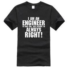 dcd1a662 I AM AN ENGINEER printed letter summer 2017 men's T-shirts short sleev –  eticdress