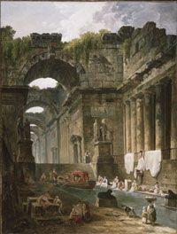 Ruins of a Roman Bath with Washerwomen, Hubert Robert, Philadelphia Museum of ARts