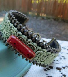 $12 Zipper Bracelet with Vintage Olive Green Trim by oldandnewboutique