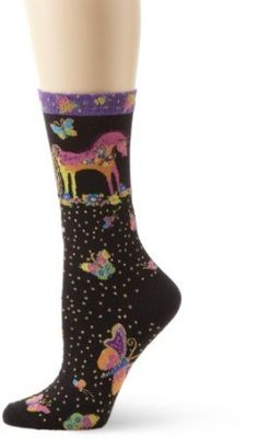 Laurel Burch Women's Mystical Mares Sock, Black, 9-11 Laurel Burch. $10.00