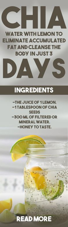 """""""Chia water with lemon to eliminate fat? Will lemon water work with chia to cleanse the body? The truth is that, if it works, you should only mix lemon water with chia, since this is the solution for you to lose those extra pounds and. 3 Day Juice Cleanse, Liver Detox Cleanse, Health Cleanse, Body Cleanse, Healthy Detox, Healthy Drinks, Detox Foods, Diet Detox, Vegan Detox"""
