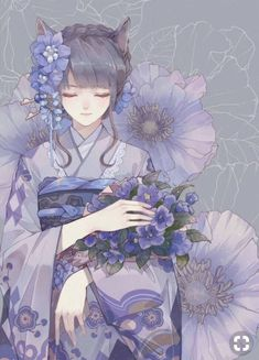 Find images and videos about girl, cute and art on We Heart It - the app to get lost in what you love. Anime Kimono, Manga Anime, Art Anime, Anime Art Girl, Manga Art, Anime Girls, Anime Angel, Anime Flower, Anime Lindo