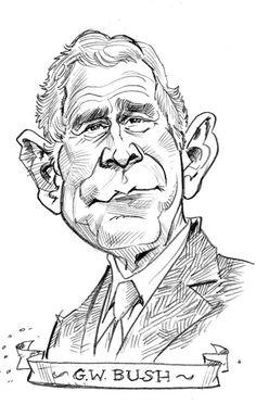 George W. Bush Pencil drawing by Tom Richmond