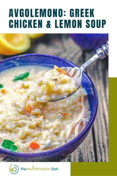 You'll love this authentic Greek Avgolemono Soup Recipe. Ahvo-lemono, as the Greeks pronounce it, is a silky, rich, fragrant chicken soup, prepared Greek-style with avgolemono sauce (lemon-egg sauce.) Best part, this weeknight version comes together in just over 30 minutes. Greek Lemon Rice, Greek Lemon Chicken Soup, Lemon Soup, Baked Cod Recipes, Chicken Soup Recipes, Rice Recipes, Chicken Soups, Lemon Recipes, Mediterranean Fish Recipe