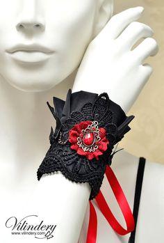 Little Vampire Cuff Bracelet, Cute Gothic Lolita Style, Beautiful Dark Fashion, Elegant Goth Wedding hand jewelry www.etsy.com/shop/Vilindery