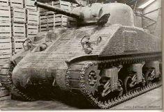 British Sherman tank with full zimmerit paste coating...                                                                                                                                                                                 More