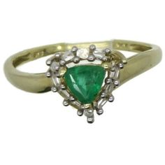 Vintage Colombian Emerald Diamond Ring, 14K Gold Ring, May Birthstone,... ($459) ❤ liked on Polyvore featuring jewelry, rings, diamond engagement rings, diamond rings, 14k gold ring, vintage gold rings and 14 karat gold ring