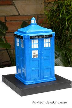 Salt Cake City Groom's Cake: This was my first Tardis. This groom was very specific about the cake and in the end, I got his approval :)