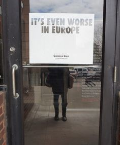 A Guerrilla Girls poster at Abrons Arts Center in April, claiming that sexism is worse in the European art world (photo by the author for Hy...