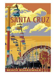 Santa Cruz, California - Beach Boardwalk Prints by Lantern Press at AllPosters.com