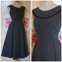 *** DESCRIPTION ***  Demure vintage 1950s day or work dress, made to be worn as a pinafore or jumper with a blouse or sweater underneath. The