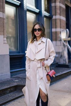 Aimee Song of Style wears a white Ralph Lauren Shirtdress and Tibi Coat