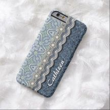 Your Name Chic Pastel Violet Mosaic Floral Lace Pattern Blue Denim Jeans iPhone 6 Case