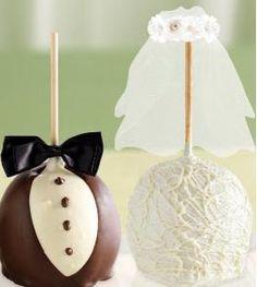 Maça do amor personalizada para casamentos .