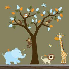 Safari vivero jungla pared calcomanía-Tree monos por Modernwalls