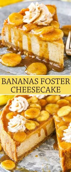 Foster Cheesecake- a thick and creamy banana brown sugar filling, cinnamon cookie crumb crust and bananas foster topping!Bananas Foster Cheesecake- a thick and creamy banana brown sugar filling, cinnamon cookie crumb crust and bananas foster topping! Brownie Desserts, Mini Desserts, Just Desserts, Delicious Desserts, Yummy Food, Health Desserts, Banana Foster Cheesecake Recipe, Cheesecake Recipes, Cheesecake Bites