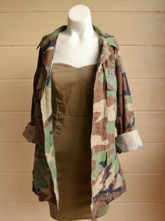 Vintage Military Camo Shirt Coat Jacket Marine corp. camo jacket by founditinatlanta on Etsy $36.00