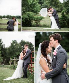 Nyk + Cali Wedding Photographers | Nashville, TN | Sting Ray Ranch | Bride + Groom | Portraits | Farm | Romantic | Rustic | Country | Land | Fence | Veil | Grey + Blush |