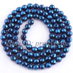 4MM-ROUND-FACETED-BLUE-HEMATITE-LOOSE-GEMSTONE-BEADS-STRAND15-NOT-MAGNETIC