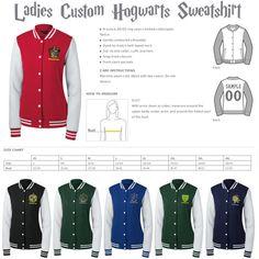 Ladies Custom Hogwarts Quidditch or Game of Thrones Varsity Sweatshirt... ($58)…