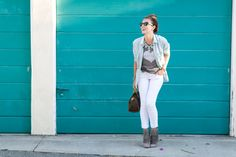 Thankful @SweetTsShoppe tee shirt, white jeans and fringe booties simple look. Layering with an open chambray button-up and statement necklace makes for the perfect Fall casual outfit. #HelloGorgeous #OOTD
