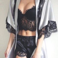 ♡ #Lingerie - Black #lace crop top with satin shorts and a grey kimono - If you like my pins, please follow me and subscribe to my #fashion channel on youtube! (It's free) Let me help u find all the things that u love from Pinterest! www.youtube.com/...