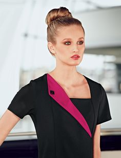 Simon Jersey stylish black beauty tunic with hot pink contrast lapel.  Shop at www.simonjersey.com for beauty tunics, beautician uniforms, beauty therapist's tunic, salon uniforms, spa uniforms, hairdressing tunics.  Perfect for many work places including beauty salons, spas, hairdressing salons, cosmetic surgeries, dog grooming salons, hotels, boutique hotels and more.