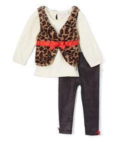 Loving this Cream & Leopard Faux Fur Vest Set - Infant on #zulily! #zulilyfinds