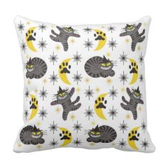 #Tabby The Black Cat Witch Throw Pillow - #Halloween happy halloween #festival #party #holiday