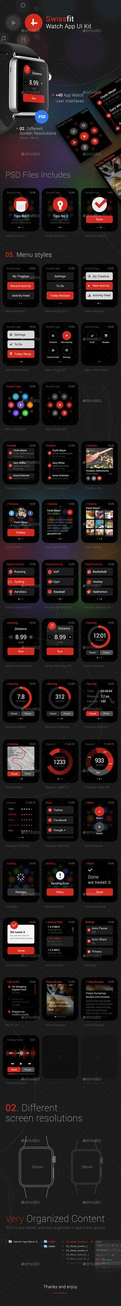 Swissfit Watch App User Interface Kit Template #design #ui Download: http://graphicriver.net/item/swissfit-watch-app-ui-kit/11382356?ref=ksioks