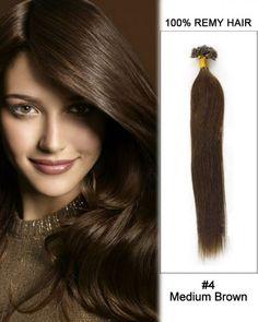 Wholesale 18'-24' #4 Medium Brown Straight 100% Remy Hair Human Nail Tip U Tip Hair Extensions