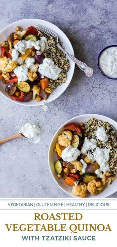 These Roasted Vegetable Grain Bowls are a gluten free dish filled with roasted veggies and covered in a creamy Tzatziki Sauce. It�s a healthy meatless meal that your family will fall in love with! #quinoa #quinoabowl #healthybowl Clean Eating Recipes, Easy Healthy Recipes, Whole Food Recipes, Vegetarian Recipes, Cooking Recipes, Dinner Recipes, Eating Clean, Healthy Eats, Free Recipes