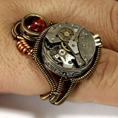 Steampunk Ring with Antique Watch Movement