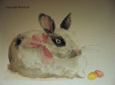 bunny rabbit painting watercolor - free shipping The Much Loved Miss Jelly Bean,  original ooak. $45.00, via Etsy.