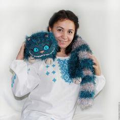 Купить Чеширский кот (петроль) - тёмно-бирюзовый, серый, голубой, бирюзовый, синий, котик, кот
