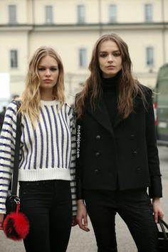 Anna Ewers and Mina Cvetkovic, Milano, February 2015
