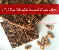 No Bake Chocolate Oatmeal Cookie Bars, Dairy-Free, Gluten-Free http://practical-stewardship.com/2013/05/28/no-bake-chocolate-oatmeal-cookie-bars-dairy-free-gluten-free/