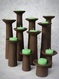 ceramics / pottery / clay - hand building techniques: slab building ideas: candle sticks (brown clay, no glaze)