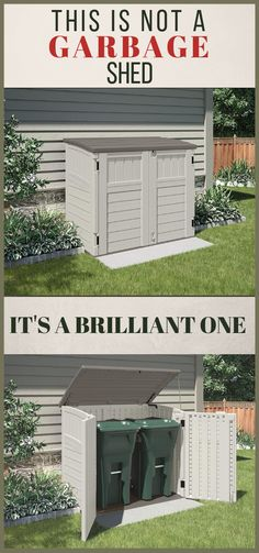 Garbage Shed Ideas. Tidy Your Backyard Space. Some nice looking garbage can shed ideas.A great way to keep backyards neat and tidy. Small, horizontal outdoor sheds are the perfect solution to hiding your garbage and trash cans away. Trash Can Storage Outdoor, Outdoor Trash Cans, Backyard Storage, Outdoor Storage Sheds, Garbage Can Shed, Garbage Can Storage, Petits Hangars, Hide Trash Cans, Outdoor Sheds